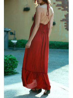 Blackless Halter Long Flowing Dress - Wine Red M