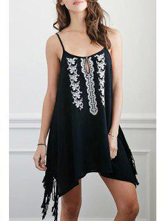 Floral Embroidery Cami Tassels Dress - Black M