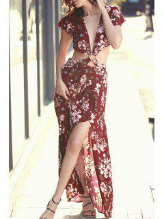 Haut Slit Plongeant Cou à Manches Courtes Imprimé Floral Robe - Rouge L