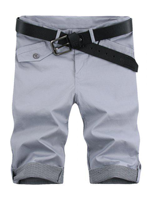 shop Fashion Plaid Cuff Pocket Zip Fly Shorts For Men - LIGHT GRAY 31 Mobile