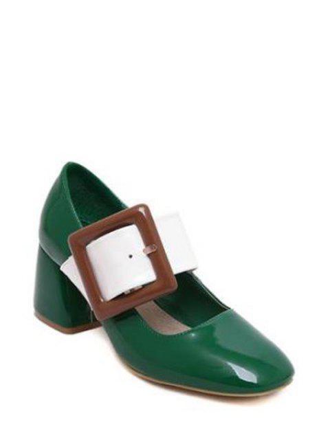 fashion Color Block Buckle Square Toe Pumps - GREEN 38 Mobile