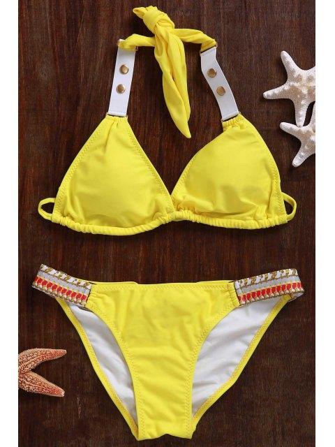 best Lace Up Halter Bikini Set - YELLOW M Mobile