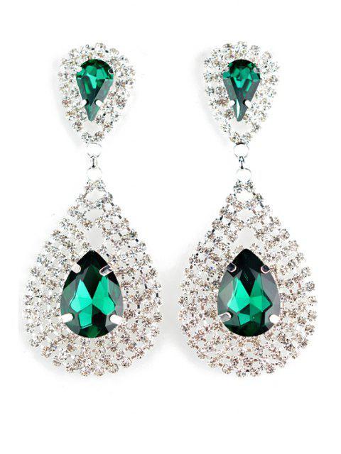 women Pair of Water Drop Faux Crystal Earrings -   Mobile