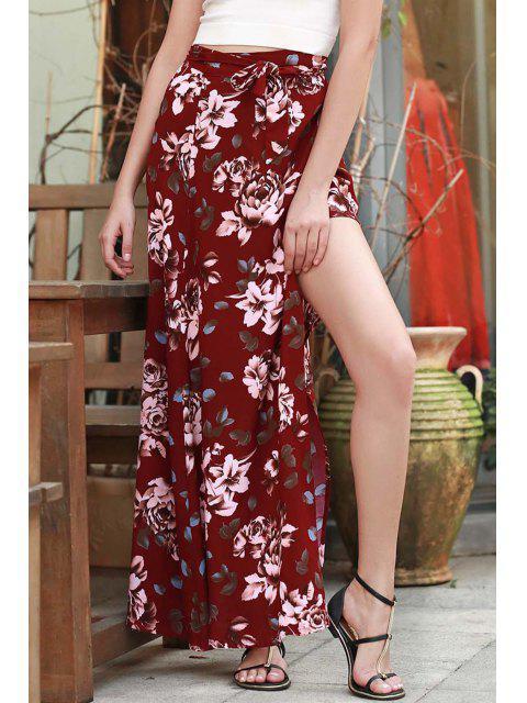 hot High Slit Floral Print Long Skirt - RED L Mobile
