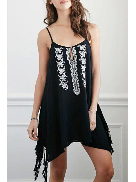 Floral broderie Cami Glands Dress - Noir M Mobile