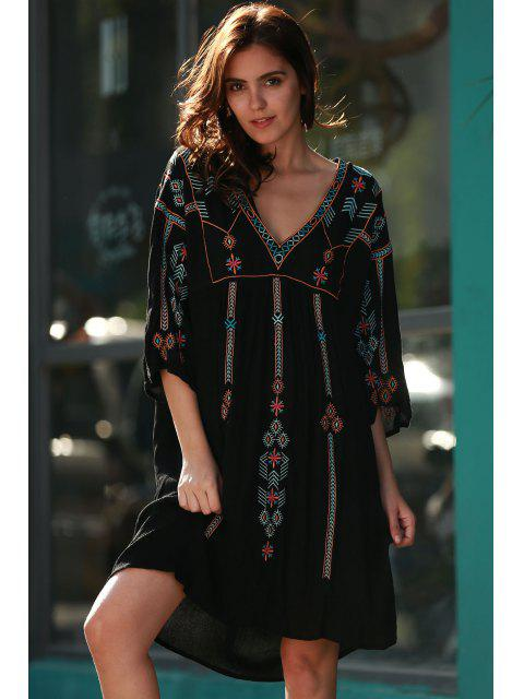 women Retro Embroidery V-Neck Half Sleeve Dress - BLACK ONE SIZE(FIT SIZE XS TO M) Mobile