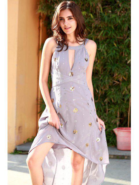 new Bohemian Cutout Beaded Fall Love Dress - PURPLE L Mobile