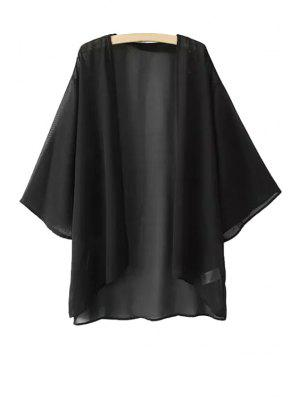 Chiffon Long Sleeve Kimono Blouse - Black M