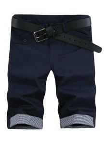 أزياء منقوشة الكفة جيب البريدي يطير السراويل للرجال - Cadetblue رقم 31