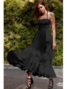 Solid Color Open Back Halter Sleeveless Dress - Black Xl