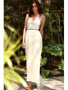 Embroidered Pleated Chiffon Prom Dress