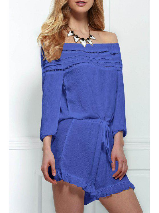lady Off-The-Shoulder Drawstring Design Romper - BLUE L