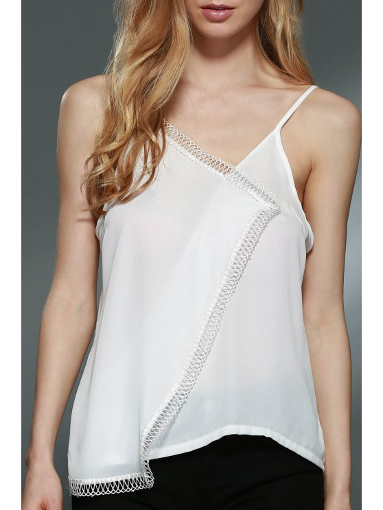 trendy Asymmetric Camisole Tank Top - WHITE S