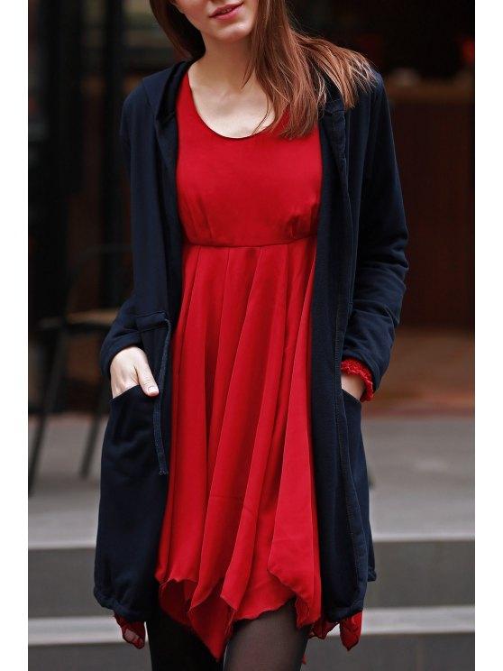 fashion Solid Color Hooded Long Sleeve Drawstring Coat - BLACK XL