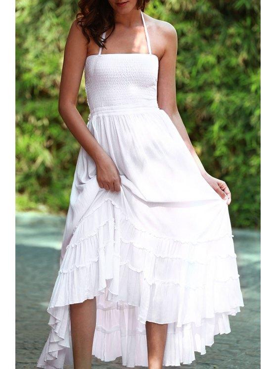 Color sólido abierta cabestro vestido sin mangas Volver - Blanco L