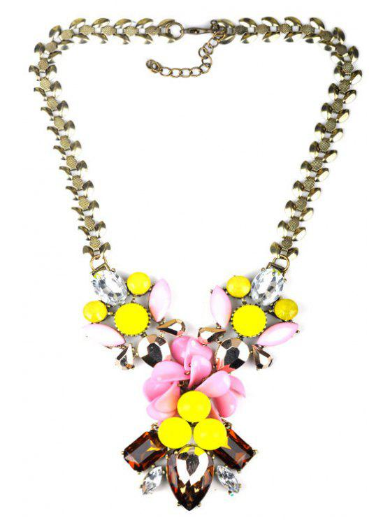 shops Faux Crystal Decorated Floral Necklace - COLORMIX