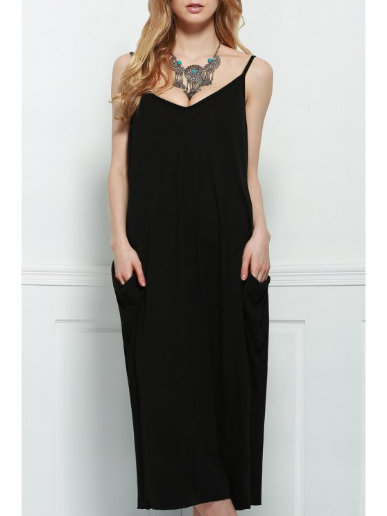 72681436d8cf 32% OFF  2019 Spaghetti Strap Loose-Fitting Maxi Dress In BLACK