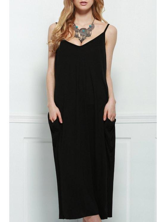chic Spaghetti Strap Loose-Fitting Maxi Dress - BLACK L