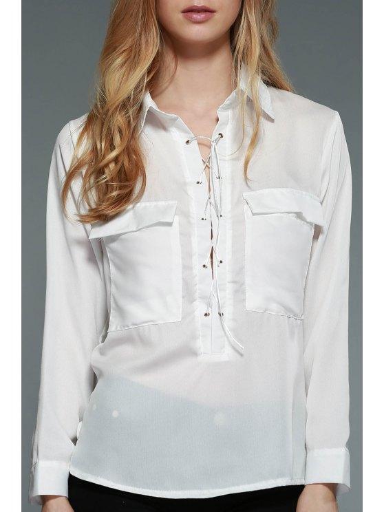 White Lace-Up Plongeant cou à manches longues en mousseline de soie Blouse - Blanc S