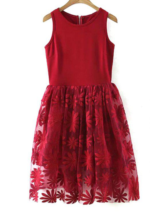 online Lace Spliced Round Collar Sleeveless Dress - WINE RED L