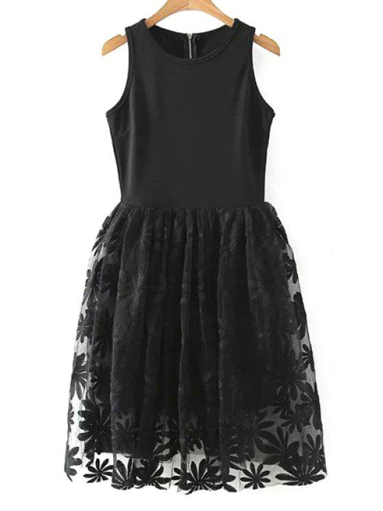 women's Lace Spliced Round Collar Sleeveless Dress - BLACK M