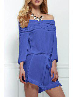 Off-The-Shoulder Drawstring Design Romper - Blue S