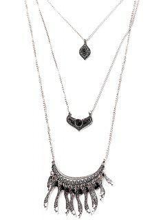 Multi-Layered Leaf Necklace - Black