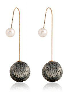 Faux Pearl Ball Shape Earrings - Gray