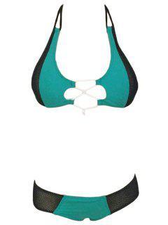 Mesh Splicing Halter Bikini Set - Azure L