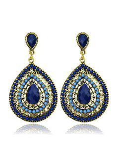 Faux Crystal Water Drop Earrings - Sapphire Blue
