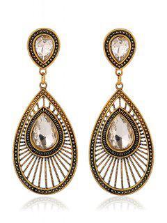 Pair Of Water Drop Faux Crystal Earrings - White