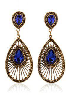 Boucles D'oreilles Goutte D'eau Faux Cristal - Bleu Saphir