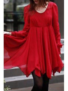 Long Sleeve Chiffon Flowing Dress - Red 2xl