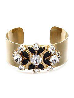 Faux Crystal Floral Chunky Cuff Bracelet - Black