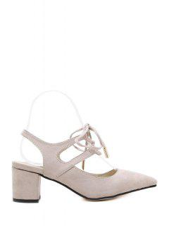 Slingback Lace-Up Pointed Toe Pumps - Apricot 39
