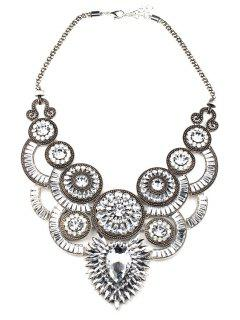 Faux Crystal Fake Collar Necklace - White