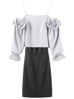 Spaghetti Strap Back Slit Blouse And Solid Color Skirt Twinset - Black And Grey L