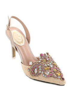 Colorful Rhinestone Lace Pointed Toe Sandals - Apricot 36