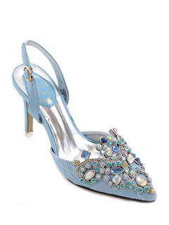 Colorful Rhinestone Lace Pointed Toe Sandals - Azure 39