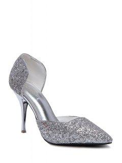 Sequins Two-Piece Pointed Toe Pumps - Silver 38
