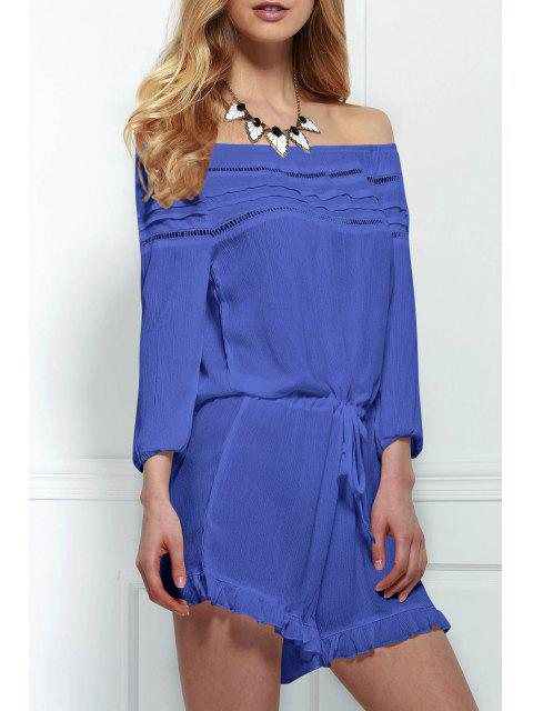 lady Off-The-Shoulder Drawstring Design Romper - BLUE L Mobile