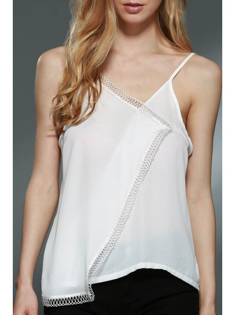 Lace Spliced ​​Cami Weiß Tank Top - Weiß XL  Mobile
