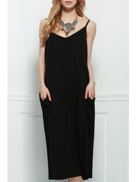 chic Spaghetti Strap Loose-Fitting Maxi Dress - BLACK L Mobile