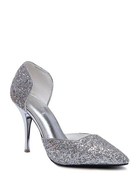outfits Sequins Two-Piece Pointed Toe Pumps - SILVER 38 Mobile