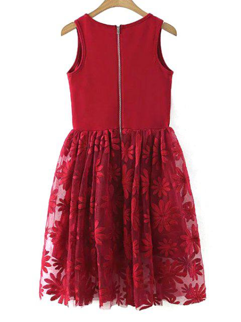 online Lace Spliced Round Collar Sleeveless Dress - WINE RED L Mobile