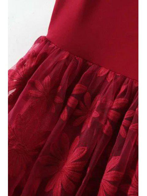 women's Lace Spliced Round Collar Sleeveless Dress - BLACK M Mobile