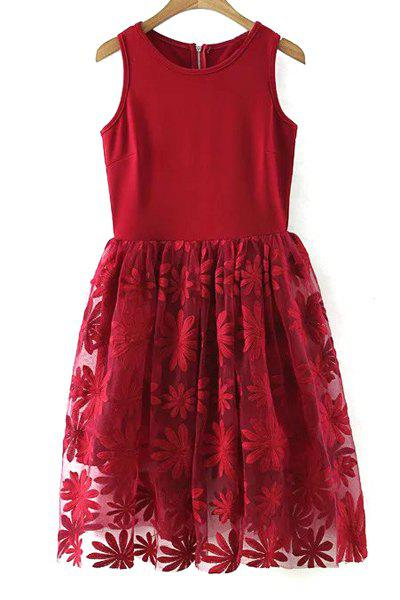 Lace Spliced Round Collar Sleeveless Dress - WINE RED L