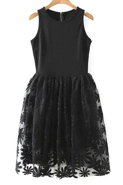 Lace Spliced Round Collar Sleeveless Dress - BLACK M