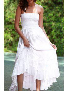 Solid Color Open Back Halter Sleeveless Dress - White L