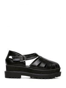 Buy Solid Color Closed Toe Platform Sandals - BLACK 36